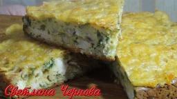 Пирог с зеленым луком,курицей и сыром  /Pie with green onions, chicken and cheese | Рецепт Светланы