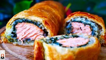 Пирог с Красной Рыбой Хрустящий Сверху и Сочный Внутри | Рецепт Ольги Матвей