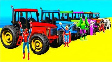 Мультики про Цветные Машинки Трактора и Бульдозеры Учим Цвета Для Детей с Веселыми Песенками