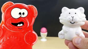Тигр димка яйцо и желейный медведь Валера