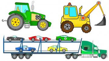 Машинки Мультики виды транспорта Трактор Экскаватор Автовоз