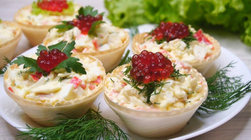 Крабовый салат в тарталетках | Рецепт Калинина Наталья