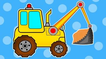 Машинки для детей. ЭКСКАВАТОР и САМОСВАЛ. Строительные машинки. Развивающие мультики