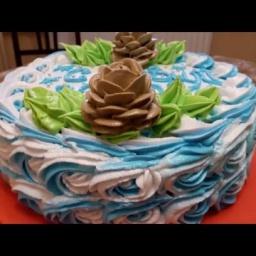Украшение торта кремом на Новый Год