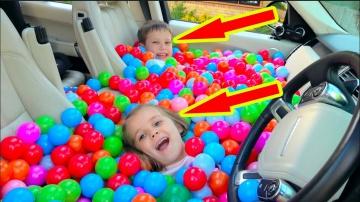 Катя и Макс Разыграли папу Засыпали машину ШАРИКАМИ или BALL PIT PRANK IN MY Dad's CAR