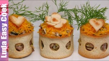 Изумительный салат с языком в хлебных кольцах на Новогодний стол