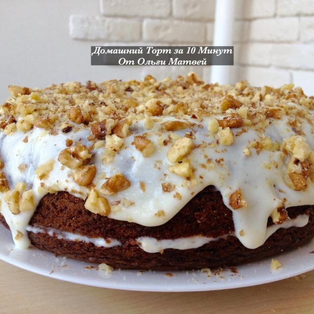 Быстрый торт  со сметанным кремом - Рецепт от Ольги Матвей