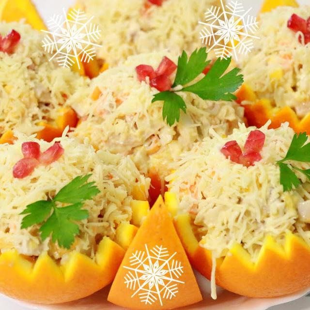 Рецепт Салата на Новый Год из апельсинов и крабовых палочек
