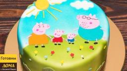 Торт Свинка Пеппа | Аппликация из мастики на торте