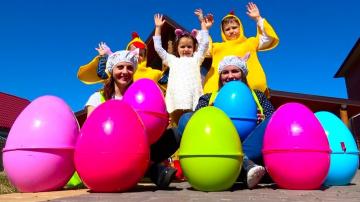 Мистер Макс Челлендж Easter Egg Hunt, ищем сюрпризы в яйцах / Мальчики против девочек
