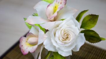 Я ТОРТодел Цветы из Сахарной пасты( Принцесса). Орхидея и Роза в цветочной композиции - Я - ТОРТодел