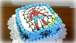 Торт Человек Паук | Как украсить детский торт кремом