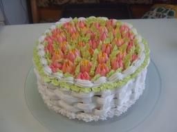 Кремовый торт Полянка тюльпанов | Рецепт Маринкины Творинки