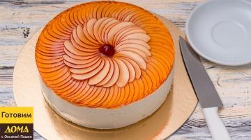 Торт со сливочно-творожным кремом фруктами и желе