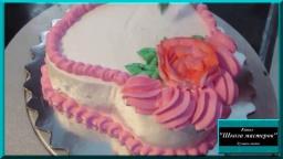 Торт к юбилею. Оформление торта белково - заварным кремом