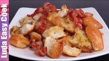 Позитивная Кухня ХРУСТЯЩИЕ СУХАРИКИ с ЧЕСНОКОМ и БЕКОНОМ – быстрая ЗАКУСКА к фильму - bread croutons