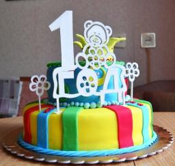 Торт из мастики | Торт на год мальчику | Сборка торта | Часть 1