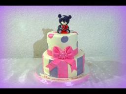 Двухъярусный торт из мастики сборка и украшение Детские торты  The two-storey cake mastic